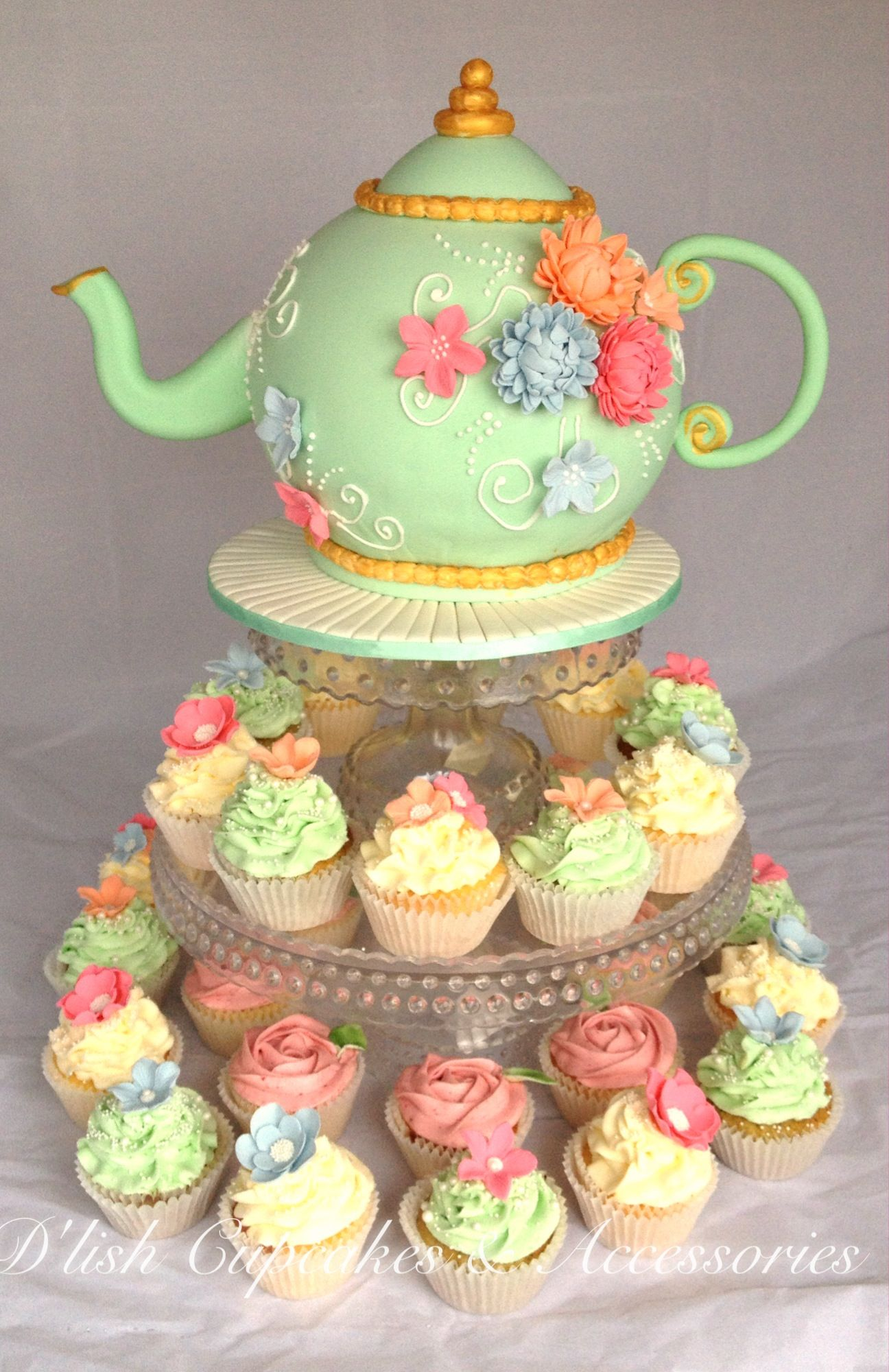 High Tea Kitchen Tea Bridal Shower Tea Pot Cake And Cupcakes Kitchen Tea Koeke