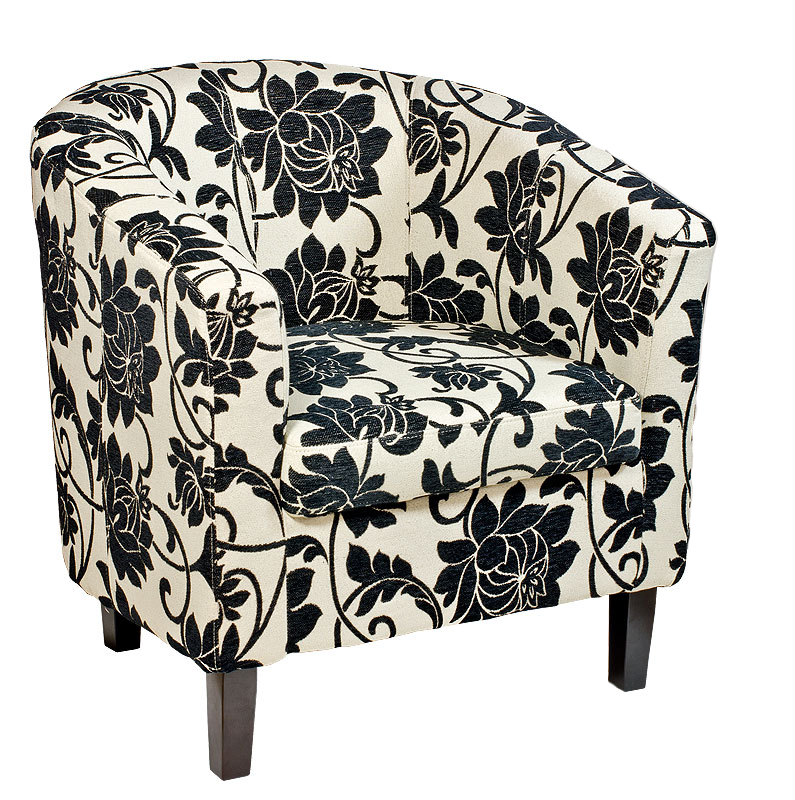 Black And White Floral Tub Chair Modern Furniture And Lighting