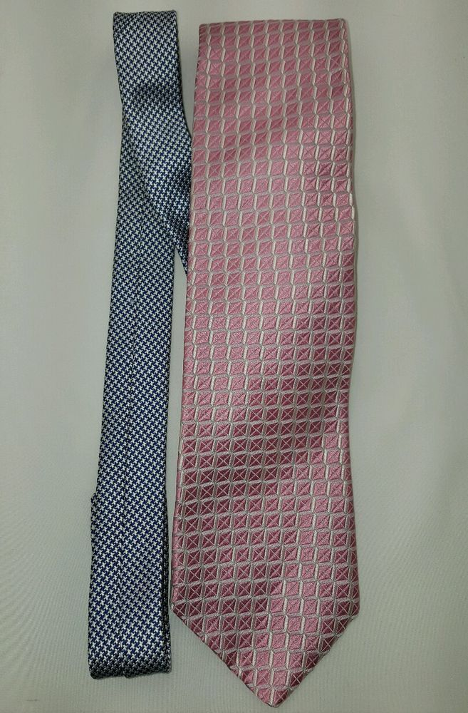 Tommy Hilfiger Neck Tie Multi-Pattern Multi-Color Pink Blue 100% Silk Free Ship #TommyHilfiger #Tie