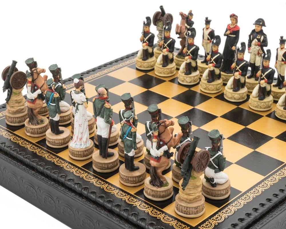 The Napoleon vs Russians Italian Nero Chess Set with