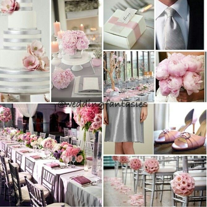 Grey White And Baby Pink Wedding Theme