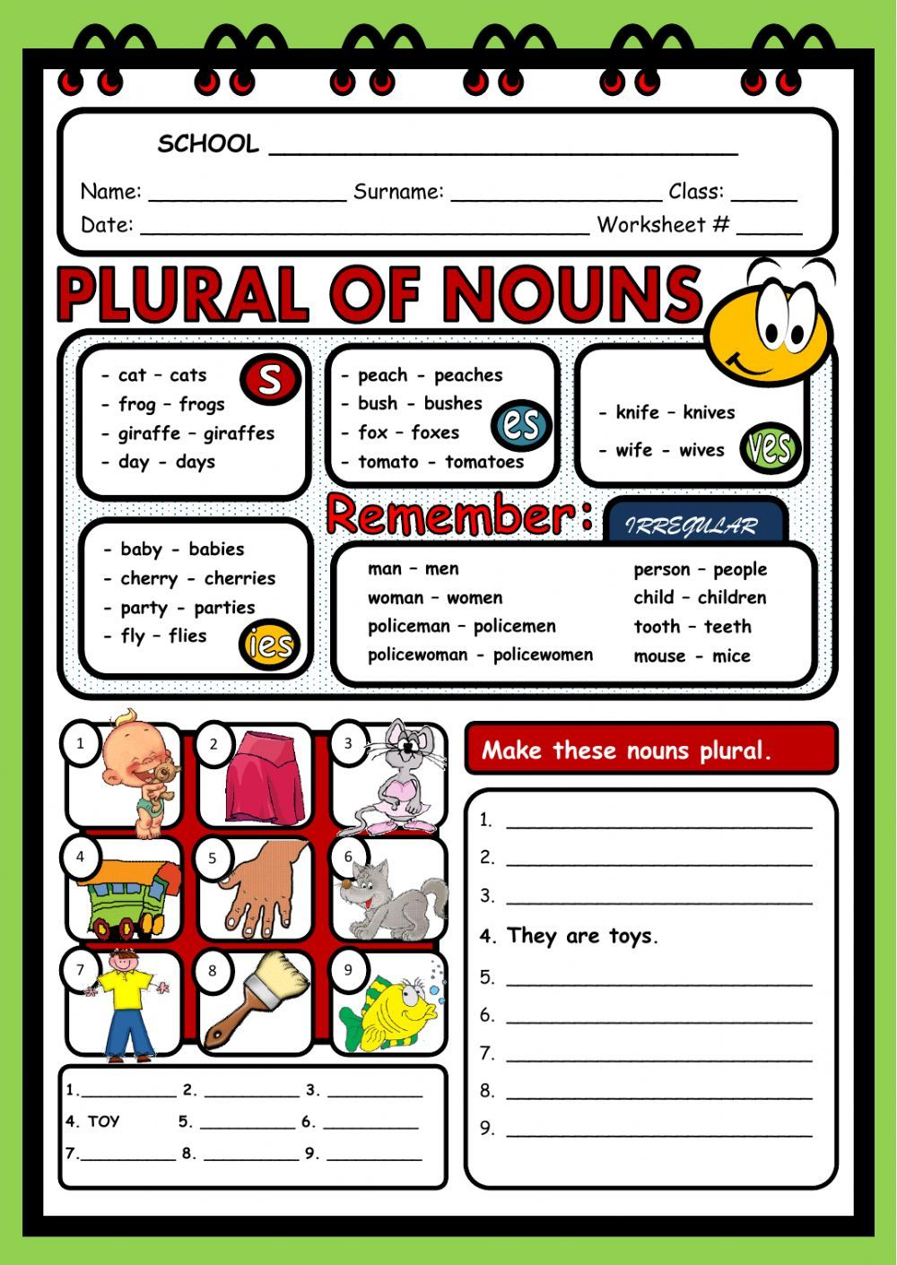 The Plural Of Nouns Interactive And Downloadable Worksheet You Can Do The Exercises Online Or Download The Worksheet As Pdf Plurals Nouns Plural Nouns