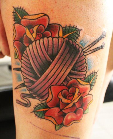 yarn and knitting needles tattoo