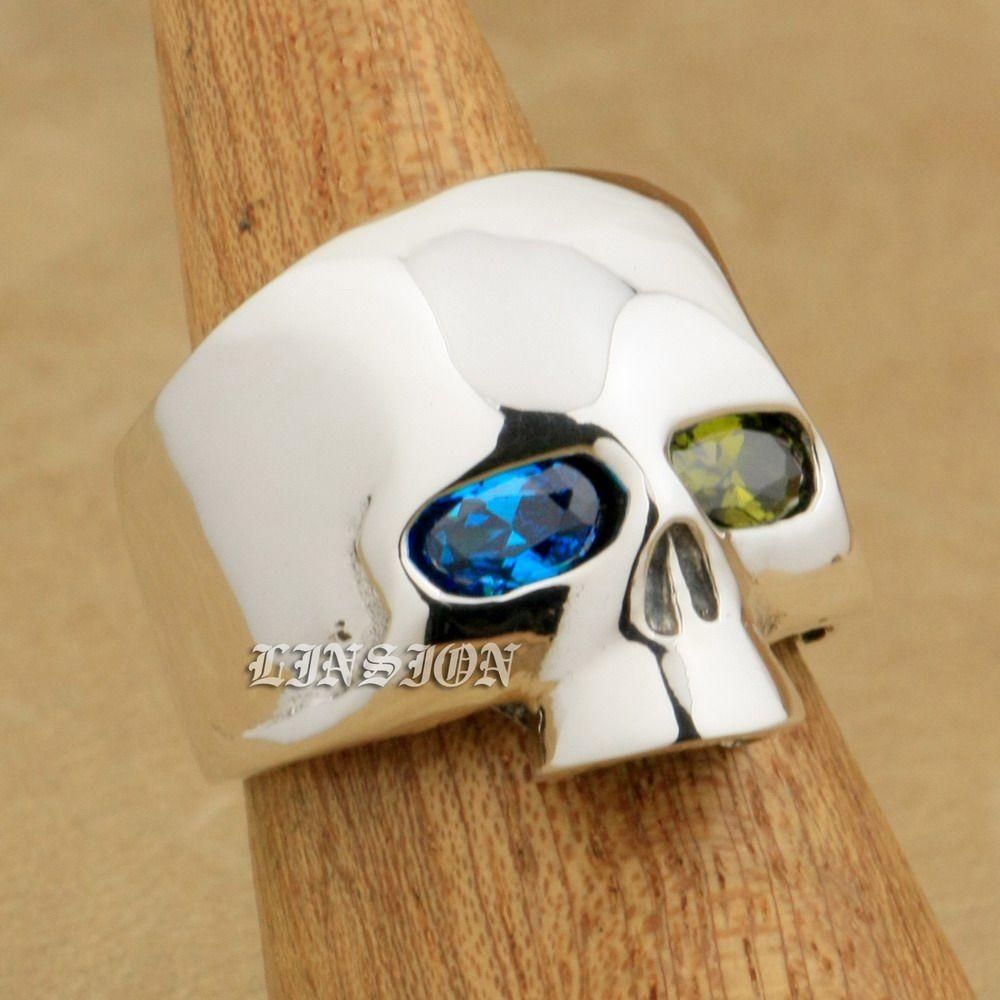 861c95e21d43 LINSION Blue + Green CZ Eyes 925 Sterling Silver Skull Mens Boys Biker Rock  Punk Ring