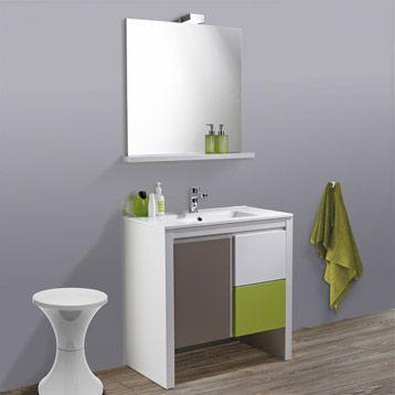 Meuble de salle de bains arch vert pistache n 4 leroy Meuble salle de bain vert