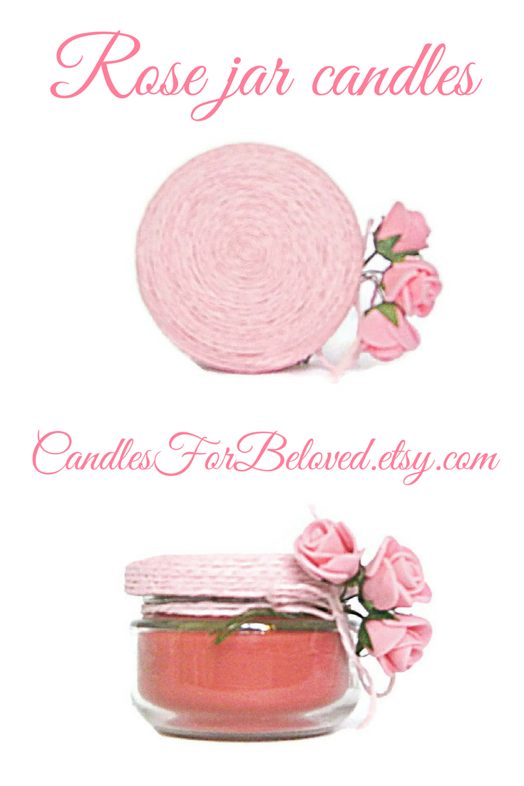 Rose Candle Pink Flower Scented Candle Mason Jar Candle Geranium Tea ...
