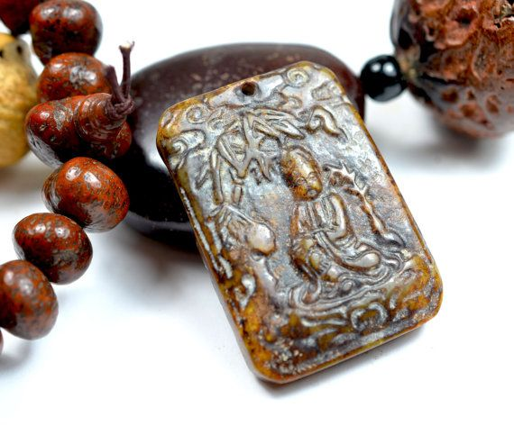 Enlightening Buddha under the bodhi tree by FortuneJadeJewelry, £102.99