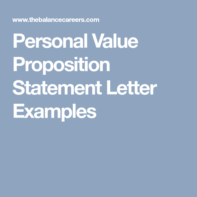 Personal Value Proposition Statement Letter Examples Letter Example Value Proposition Personal Values