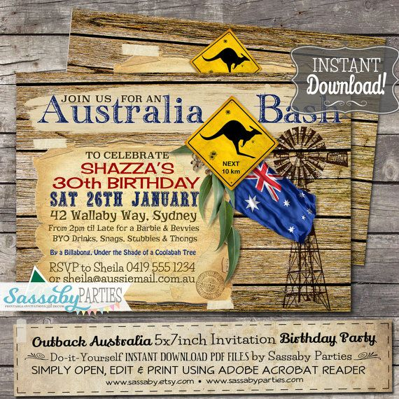 Australia Party Outback Invitation Family BBQ By