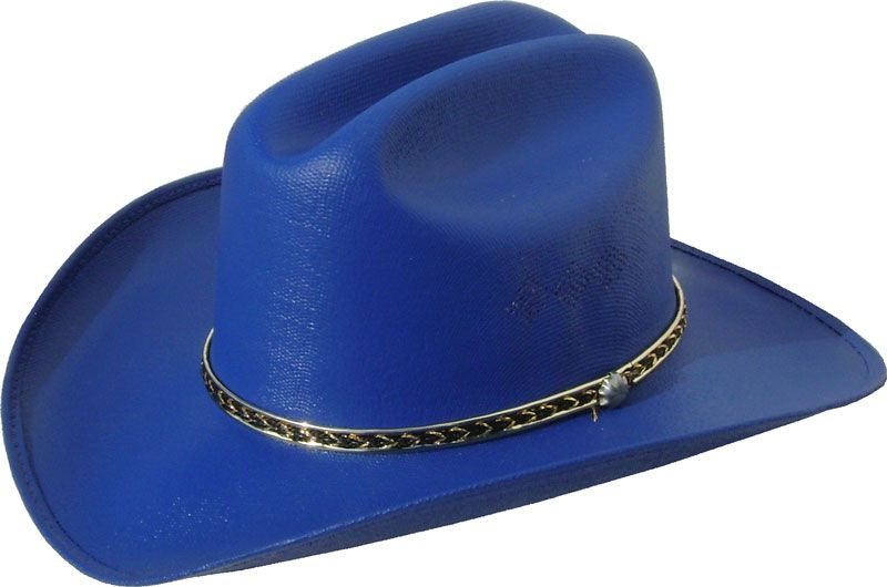 9ea93308e1161 Kids Canvas Straw Cattleman Style Blue Cowboy Hat