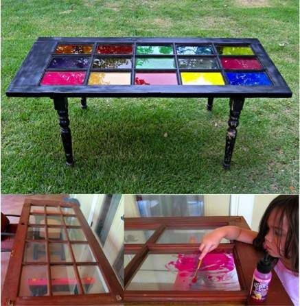 Repurpose An Old French Door Into A Beautiful Table Do It Yourself Fun Ideas Old French Doors Door Table Old Doors