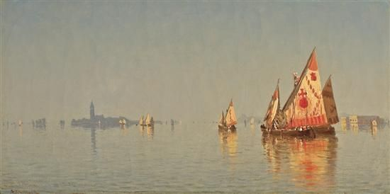 """The Lagoons of Venice,"" Sanford Robinson Gifford, 1869, oil on canvas, 6 3/8 x 12 1/2"", private collection."
