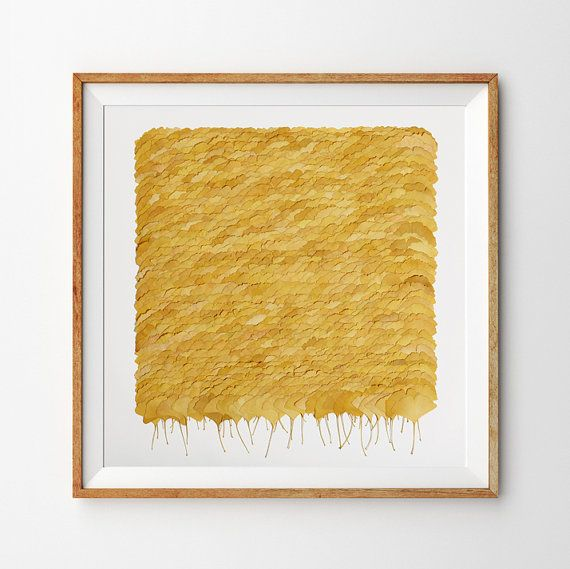 Yellow Ginkgo leaves laid out in a square – nature wall art for your ...