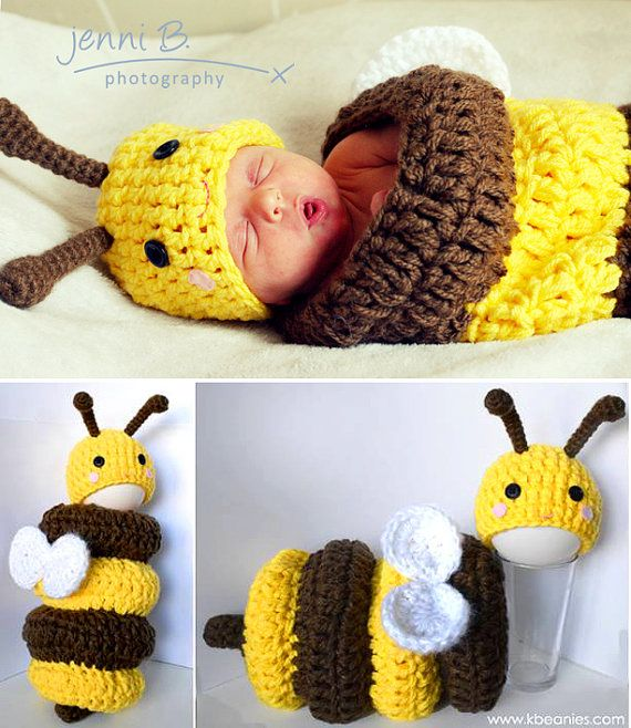 Newborn Baby Bee Outfit Hat and Cocoon Snug Set Newborn Photography ...