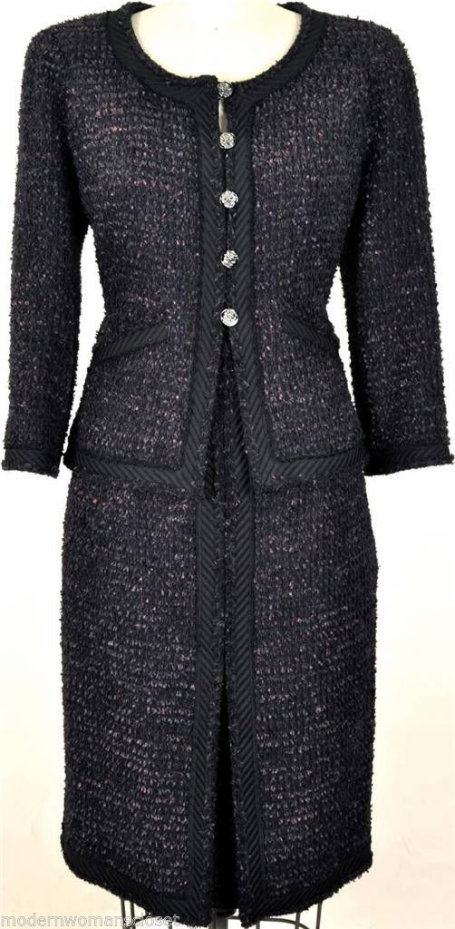 475a5e9f086 Exquisite RARE Chanel 09A Classic Tweed Suit Jacket Skirt New 42 Dress  Blazer