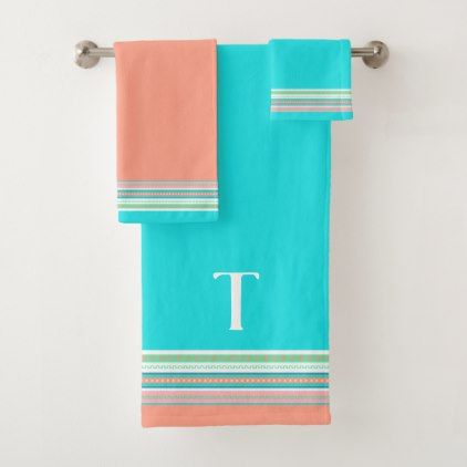 Colorful Southwestern Monogrammed Bath Towel Set Zazzle Com Bath Towel Sets Towel Set Orange Hand Towels