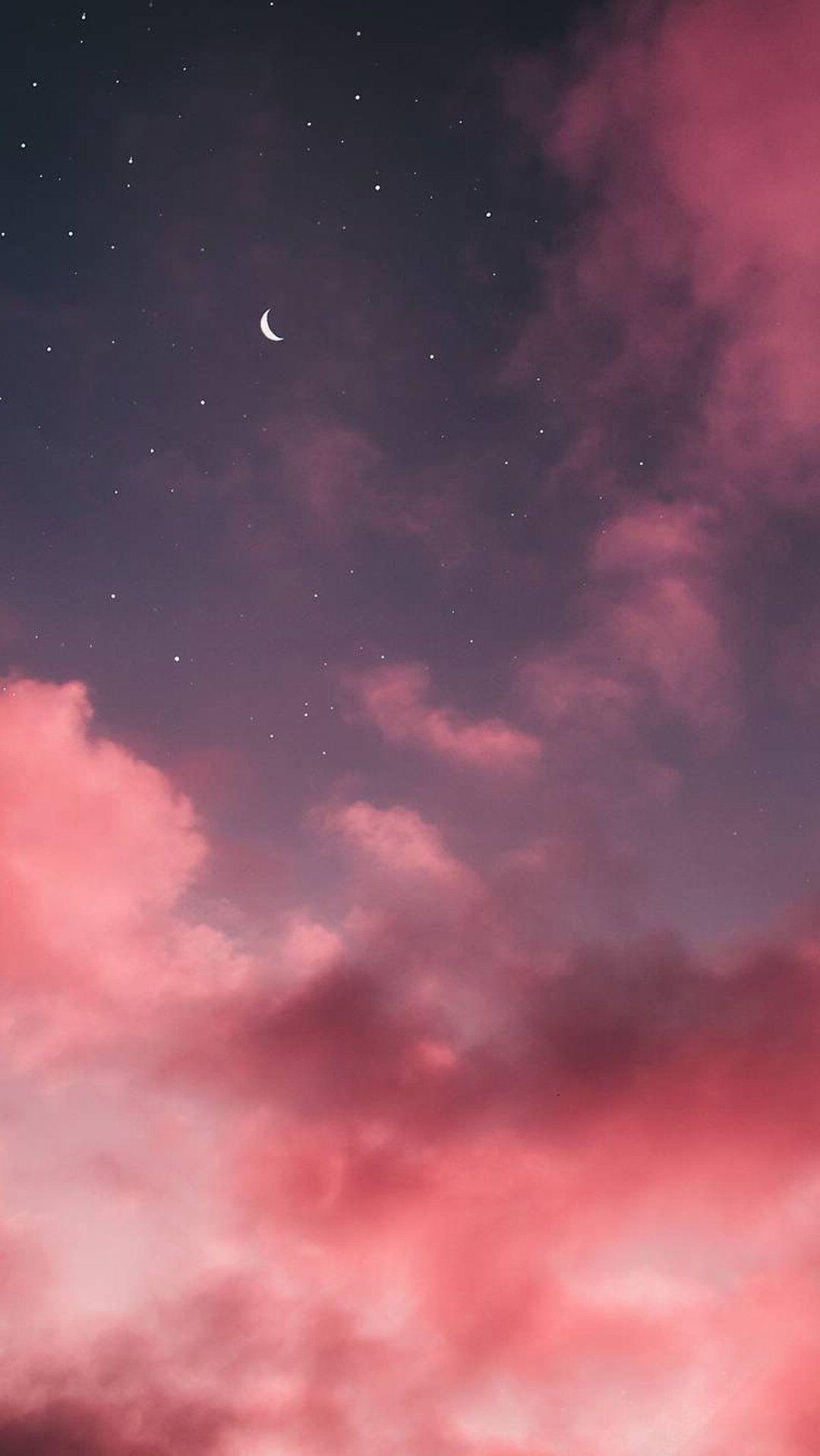 Phone Wallpaper Stars Stars Stars Sky 6wallpaper Wallpaprs Background Iphone Iphone11 Iphone Wallpaper Moon Iphone Wallpaper Stars Pink Clouds Wallpaper