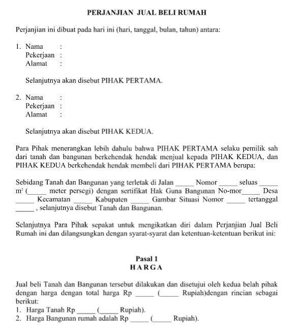 contoh surat resmi perjanjian jual beli rumah dan syarat umum format word delilla pilli