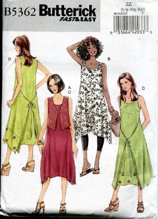 NEW EZ Loose Boho Front Tie Dress Tunic SMock Vest pattern Butterick 5362 XS S M