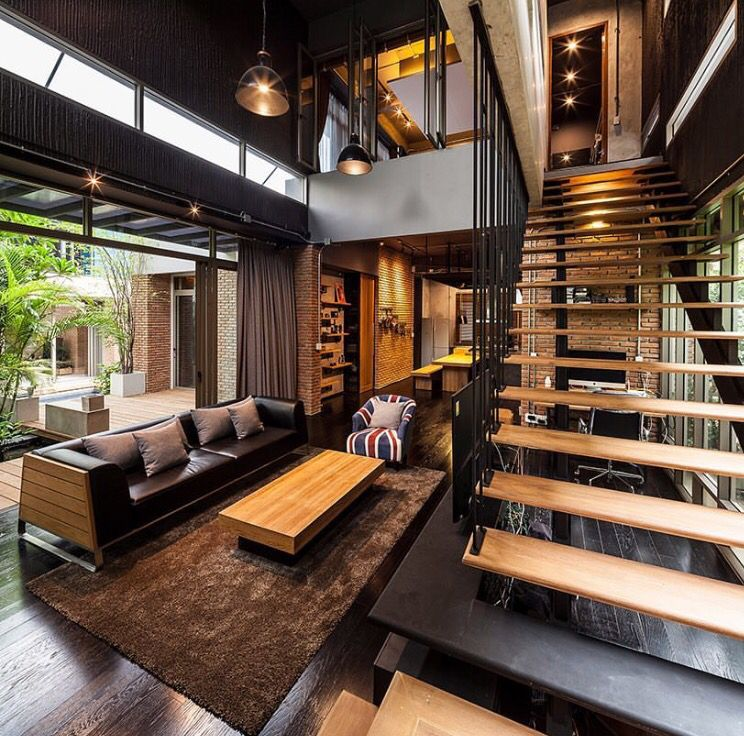 Nice Open Feel With Dark Interior Selections Modern House Design