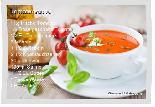 1 kg frische Tomaten 1/2 Dose geschälte Tomaten 1/2 EL Tomatenmark 3 Möhren 1 1/2 Zwiebeln 2 1/2 Knoblauchzehen 30 g Ingwer 100 ml Sahne 1 1/2 EL Butter 1 Tasse Wasser 1 EL Zucker Petersilie Thymian Basilikum Salz und Pfeffer