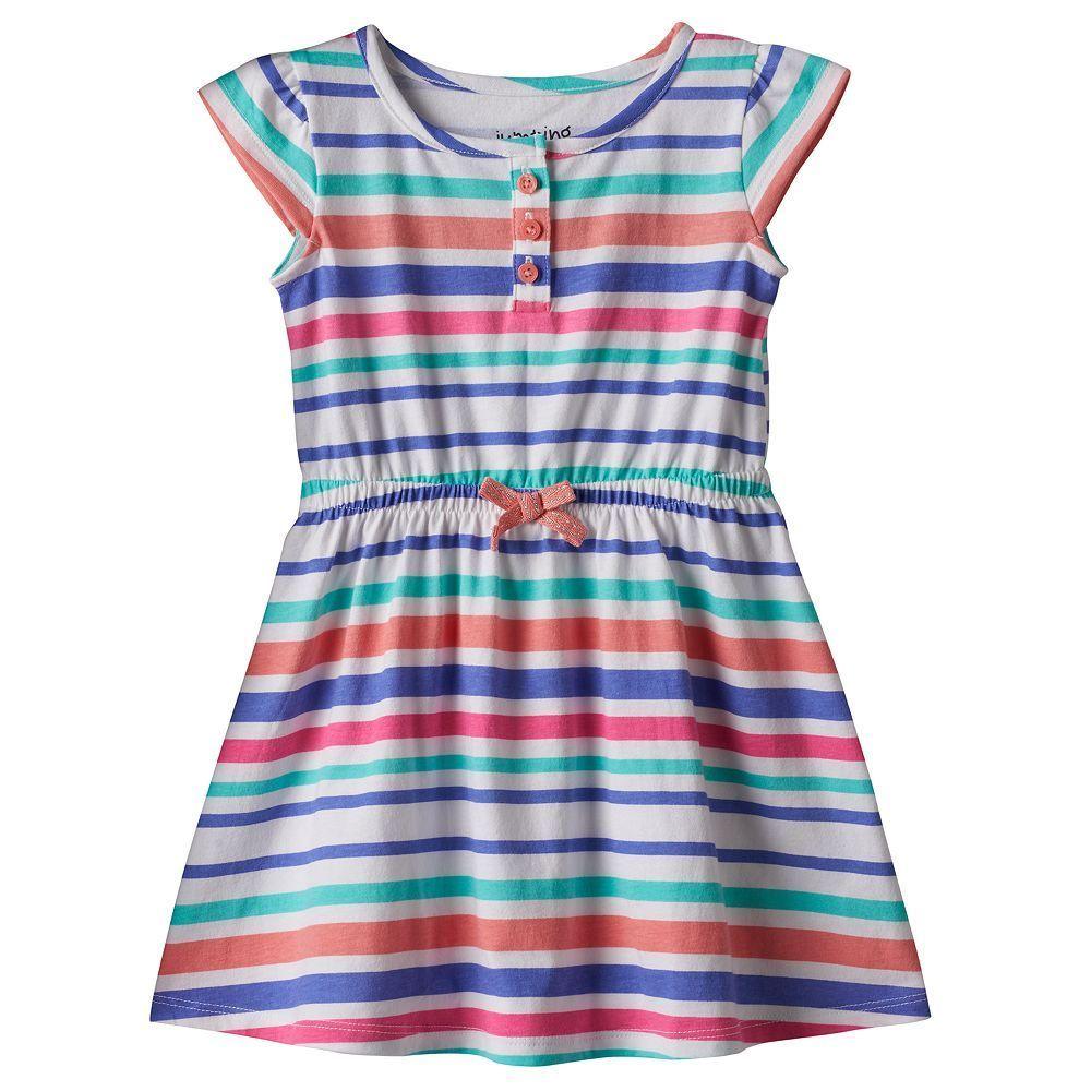 Toddler girl jumping beanscap sleeve patterned henley dress size