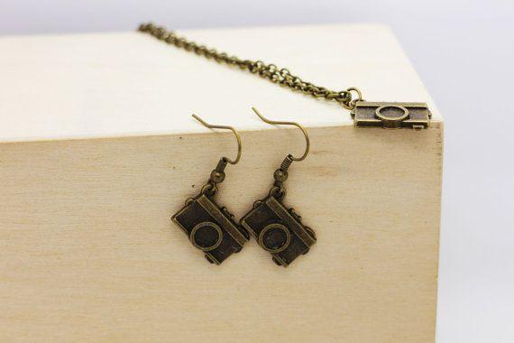 Camera Dangling Earrings Camera Necklace by boysenberryaccessory