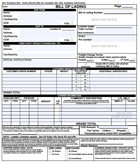 Bill Of Lading Template 8 Printable Word Pdf Formats Bill Of Lading Templates Budget Spreadsheet Template