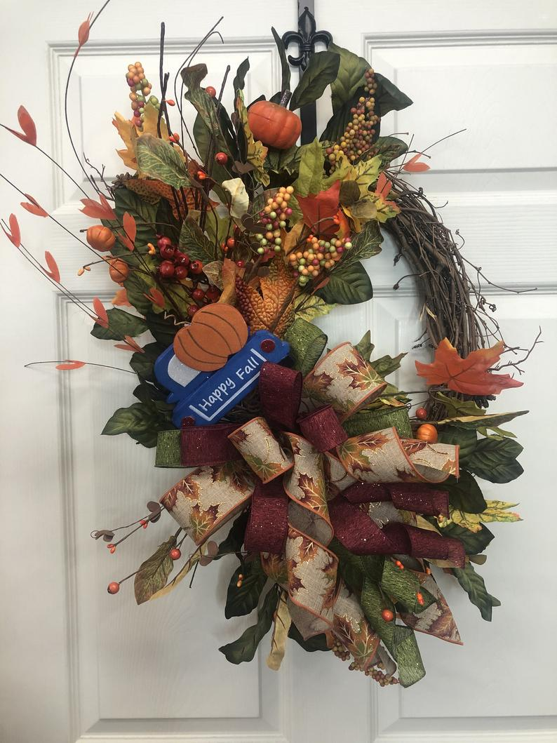 Photo of Autumn wreath for the front door, autumn wreath, autumn wreath, autumn wreath, autumn sunflowers, flower flowers, autumn decor, decoration exchange