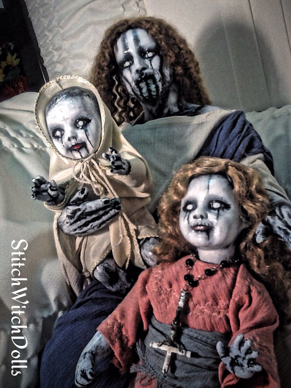 StitchWitchDolls....my Unholy family dolls.... Creepy