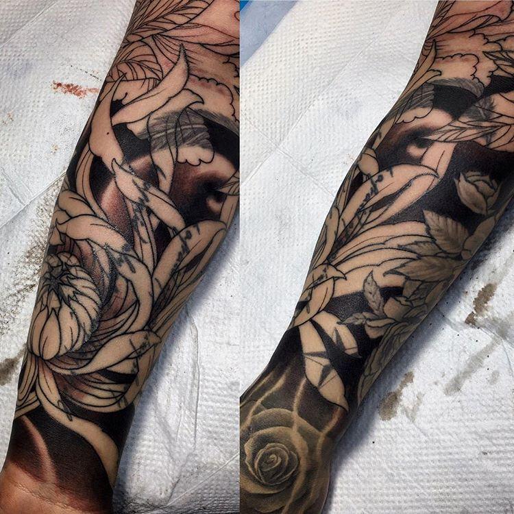 Base shading in progress thank you flash tattoo