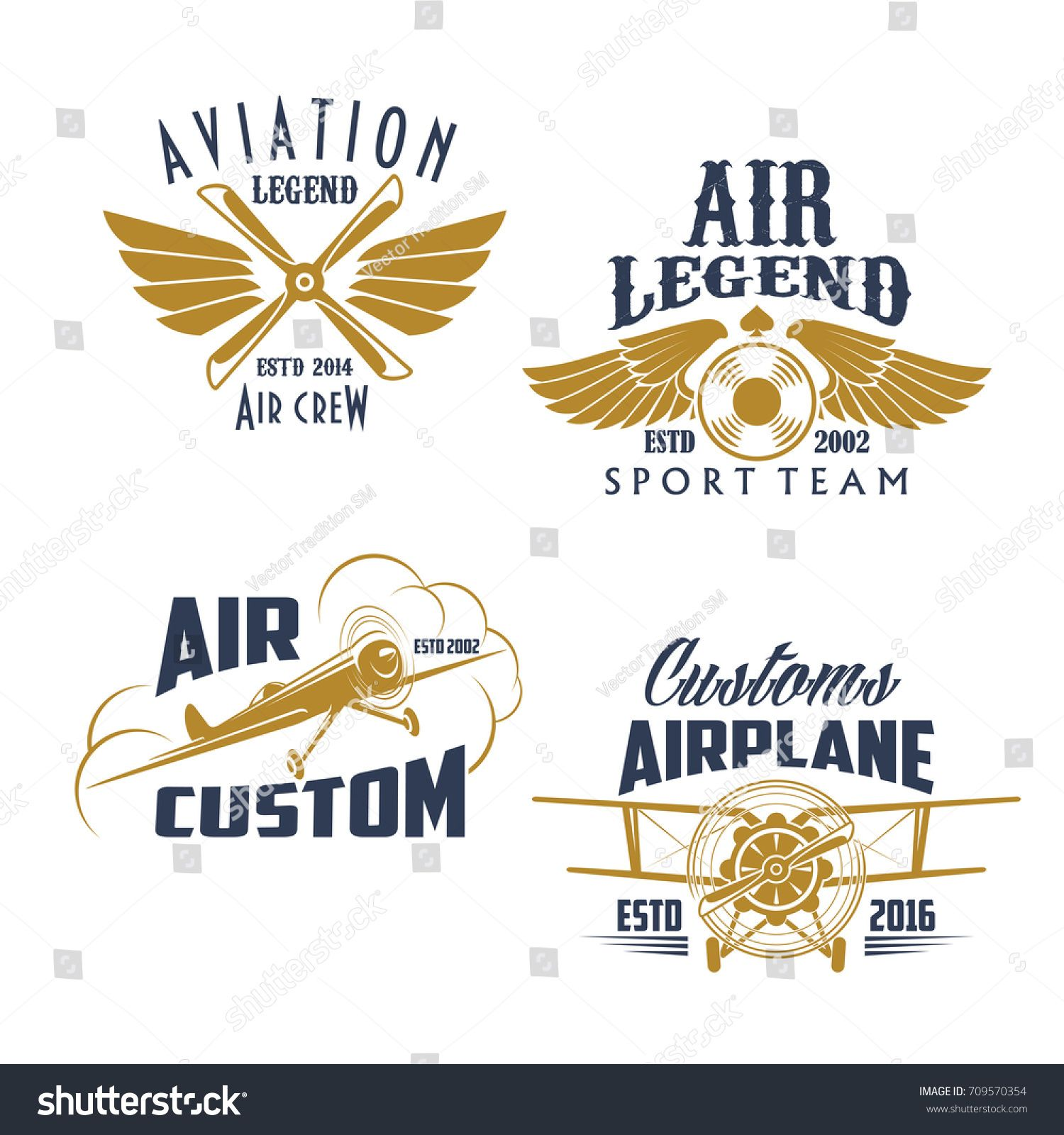Airplane propeller and wings retro icons. Vector isolated