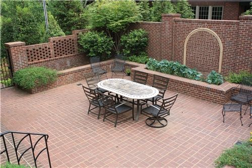 Small Square Backyard Landscaping Brick Patio Ideas Network