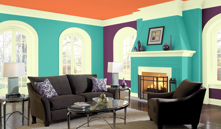 this room has a double complementary color scheme with the orange