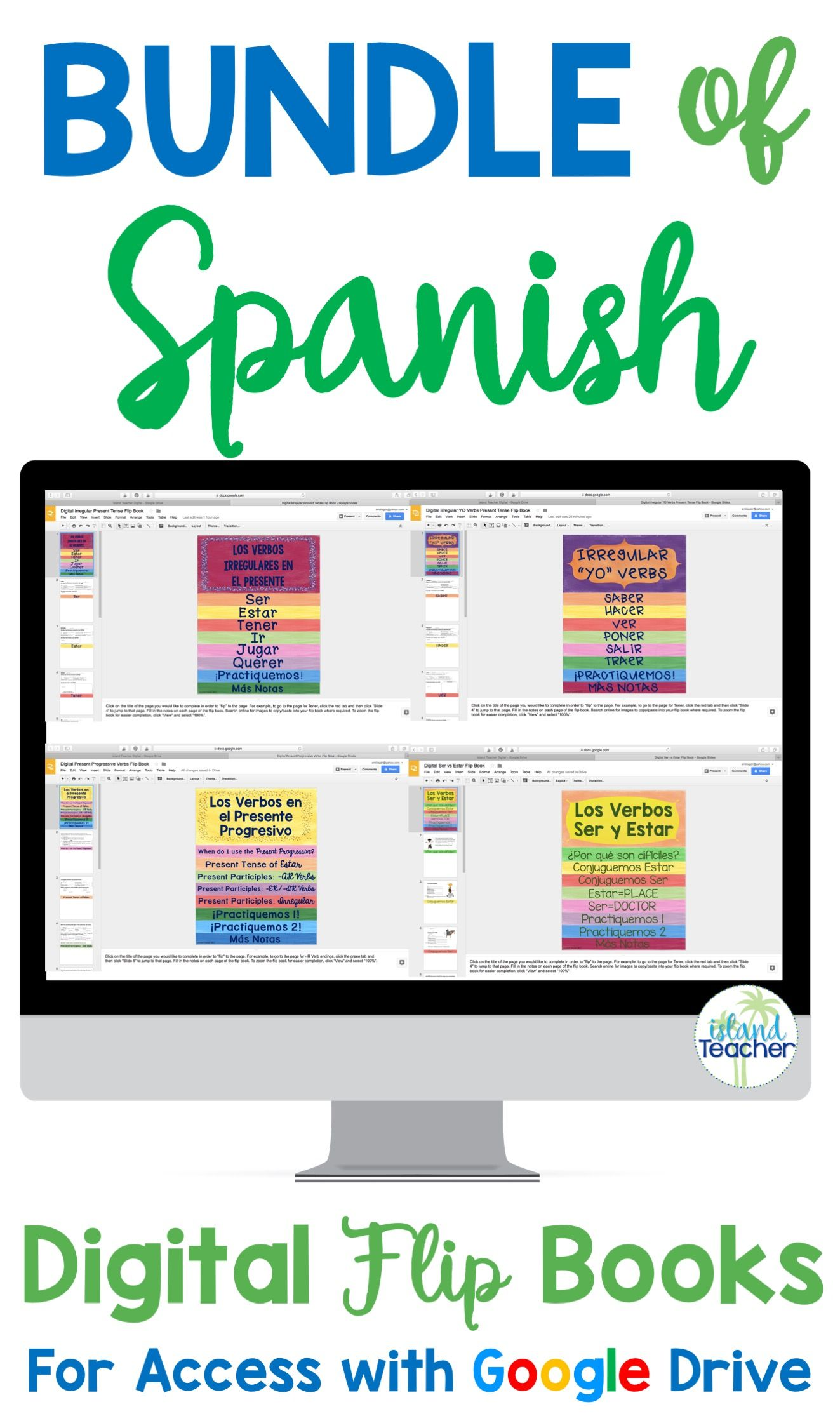 Spanish Digital Google Drive Flip Books Bundle Espa Ol