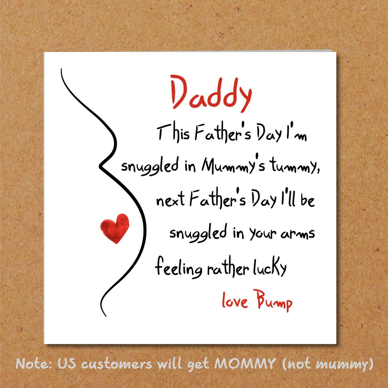 Fathers day card for new dad partner from bump unborn