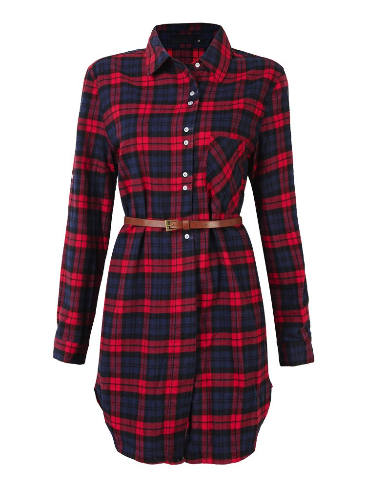 137c280ad2 Casual Women Plaid Turn-Down Long Sleeve Shirt Dress | ebay | Long ...