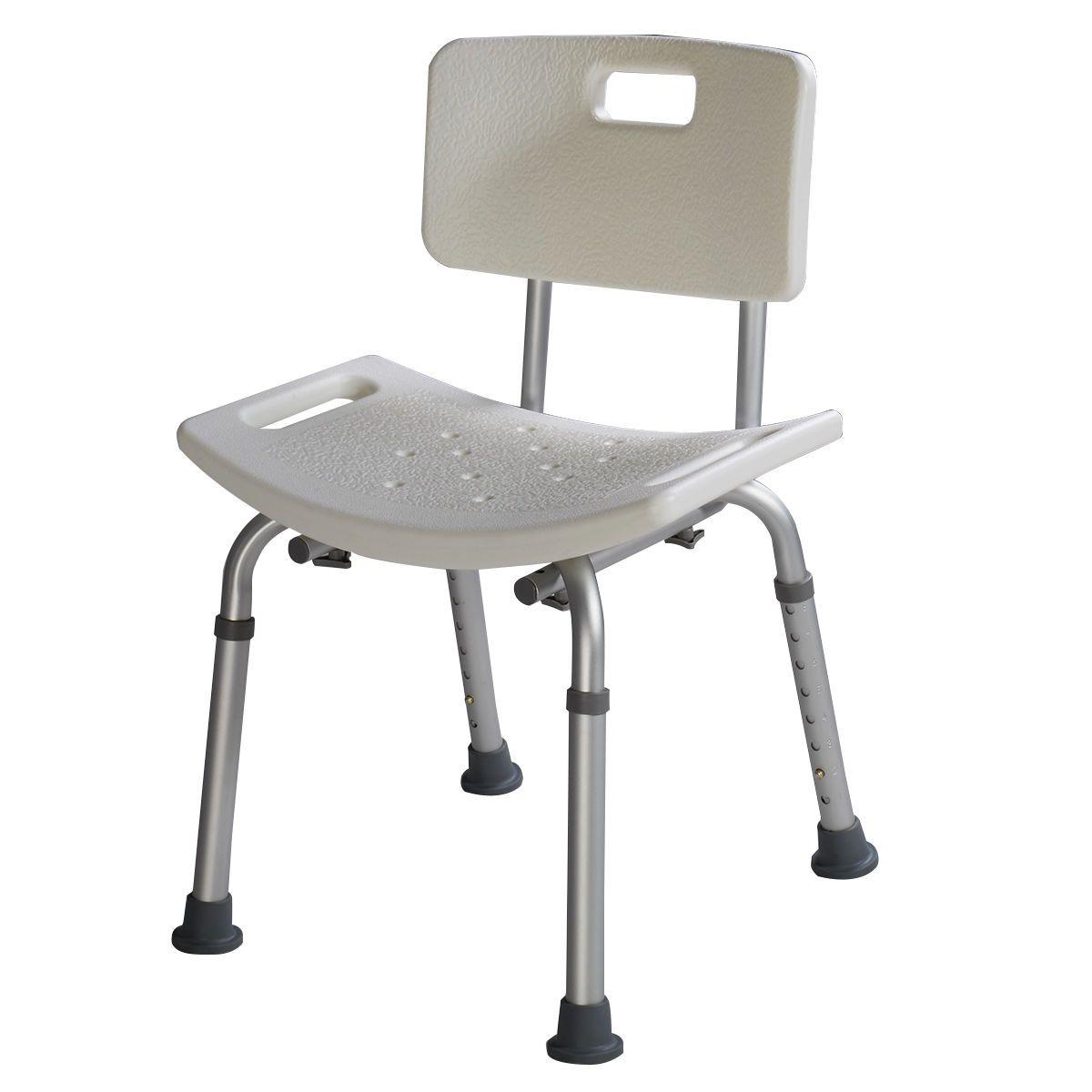8 Height Adjustable Medical Shower Bath Chair Bathtub Stool Detachable  Backrest