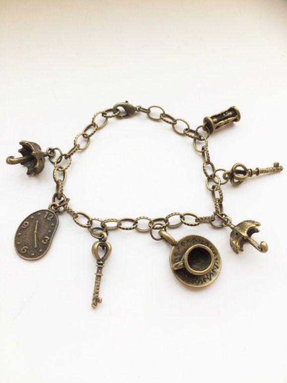 Vintage Alice in Wonderland Style Bronze coloured Bracelet