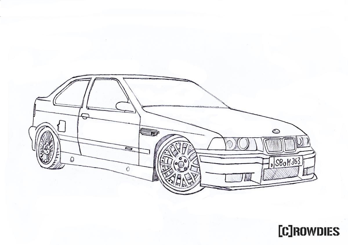 Drawing Zeichnung Bmw E36 Compact Bmw Compact Car Drawings