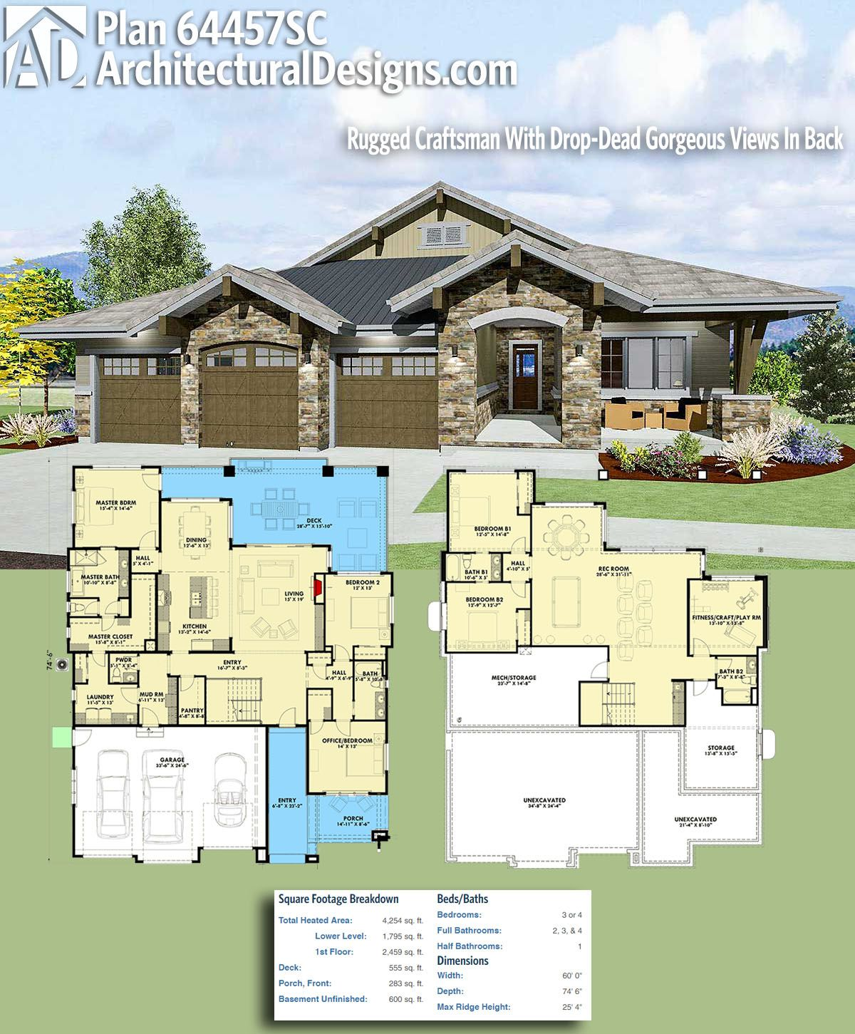 Plan 64457sc Rugged Craftsman With Drop Dead Gorgeous Views In Back Craftsman House Plans Craftsman House House Plans