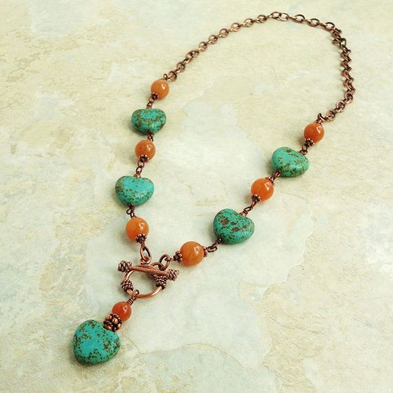 Teal Green Magnesite, Orange Aventurine, Copper Necklace 18in Handmade