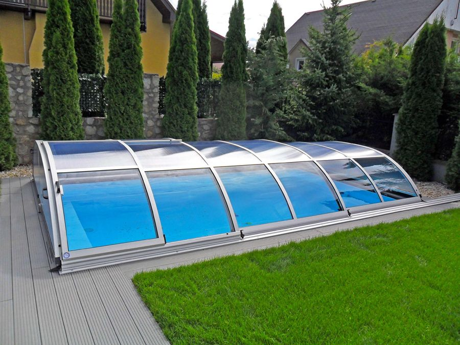 Retractable swimming pool elegant in silver by alukov - Outdoor swimming pool enclosures uk ...