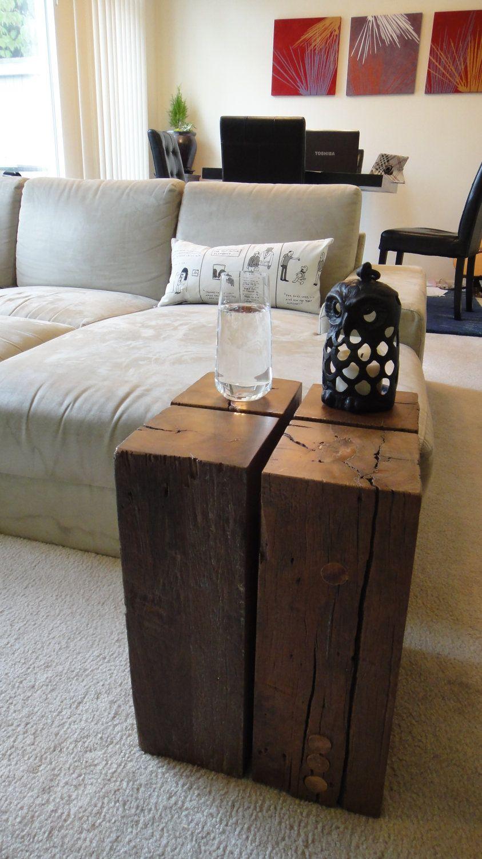 Reclaimed Wood Block Side Table 230 00 Via Etsy Table Reclaimed Wood Coffee Table Coffee Table Wood [ 1500 x 843 Pixel ]