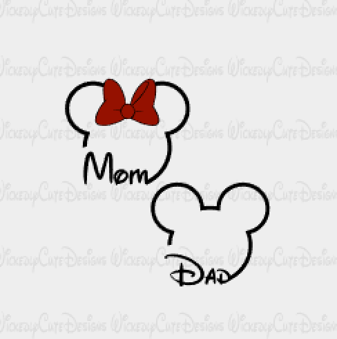 Mom And Dad Mouse Heads Svg Dxf Eps Png Digital File With