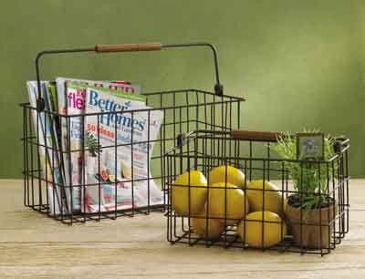 bale handle wire magazine baskets set of 2 kolorful kitchen