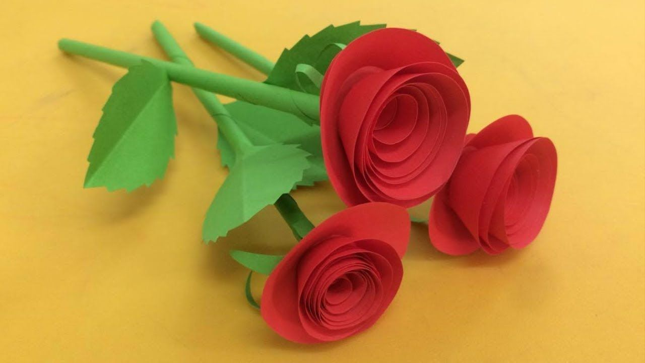 How To Make Small Rose Flower With Paper Making Paper Flowers Step By Simple Paper Flower Paper Flower Tutorial Paper Flowers Craft