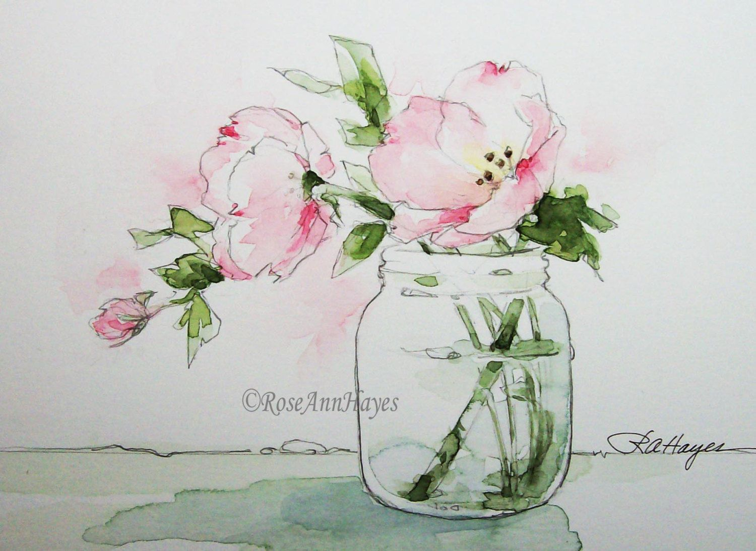 Pink Evening Primrose Watercolor Painting By Roseann Hayes Prints