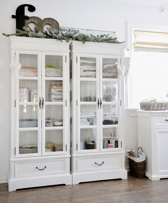 Superb White Hutch With Drawer U0026 Glass Cupboards