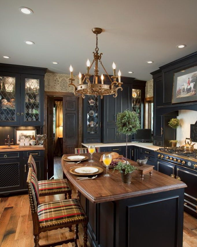 Black Distressed Cabinets A Few Lightened With Custom Leaded Glass Panels Provide A Gorgeo Traditional Kitchen Design Rustic Farmhouse Kitchen Kitchen Design
